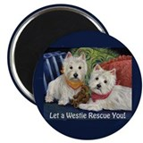 "WESTIE LET A WESTIE RESCUE YOU! 2.25"" Magnet (10 p"