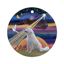 Xmas Star and Kuvasz Ornament (Round)
