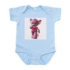 Pink Heart Kitten Infant Creeper