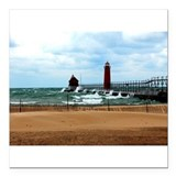 "Lake Michigan Beach Square Car Magnet 3"" x 3"""