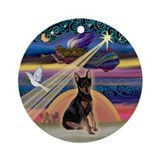 Xmas Star & Miniature Pinscher Ornament (Round)