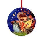 Mandolin Angel & Parti Pom Ornament (Round)