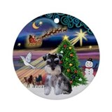 Xmas Magic &amp; Mini Schnauzer Pup Ornament (Round)