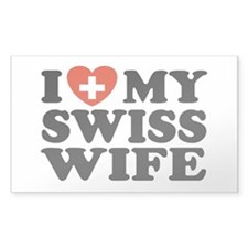 I Love My Swiss Wife Rectangle Decal