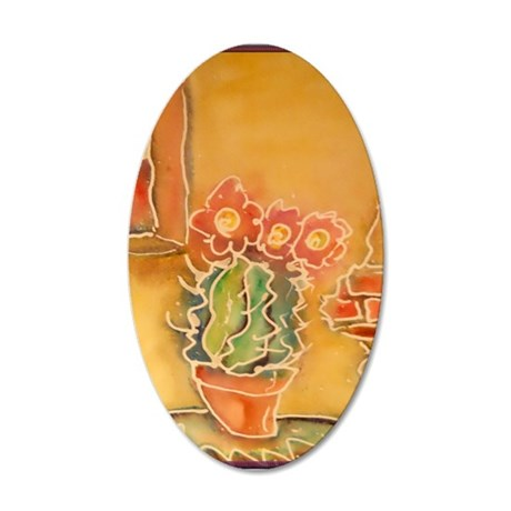 Cactus! Southwest art! 35x21 Oval Wall Decal