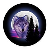 Moon Wolf Round Car Magnet
