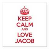 "Keep calm and love Jacob Square Car Magnet 3"" x 3"""