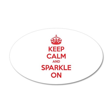 Keep calm and sparkle on 38.5 x 24.5 Oval Wall Pee