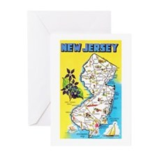 New Jersey Map Greetings Greeting Cards (Pk of 20)