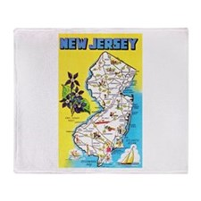 New Jersey Map Greetings Throw Blanket