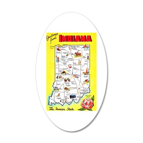 Indiana Map Greetings 20x12 Oval Wall Decal