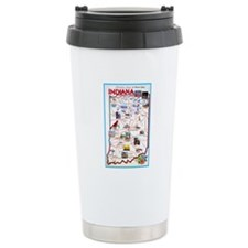 Indiana Map Greetings Ceramic Travel Mug