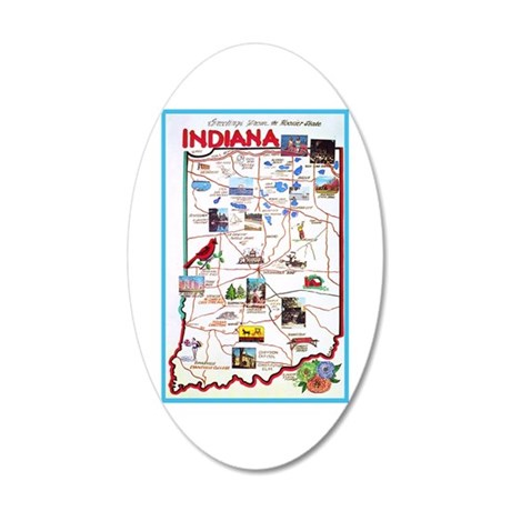 Indiana Map Greetings 35x21 Oval Wall Decal
