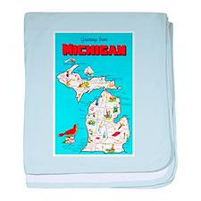 Michigan Map Greetings baby blanket