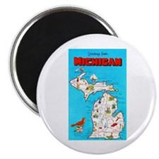 Michigan Map Greetings Magnet