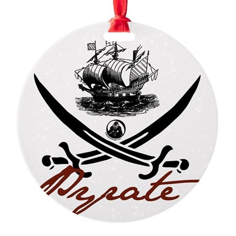 pirate1-light.png Round Ornament