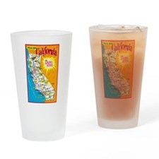 California Map Greetings Drinking Glass