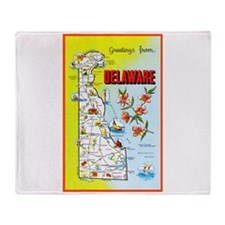 Delaware Map Greetings Throw Blanket