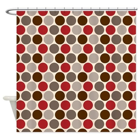 Red Gray Polka Dots Shower Curtain By PrintedLittleTreasures
