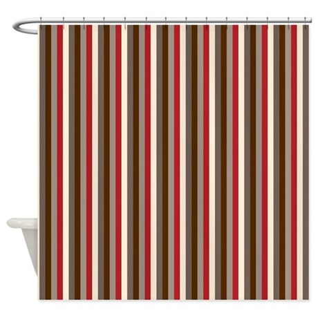 Terry Cloth Shower Curtain Black and Red Fabric Shower