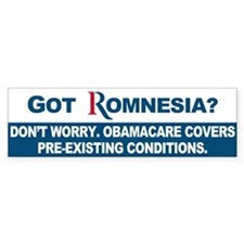 Got Romnesia? Bumper Sticker