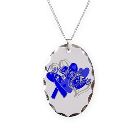 Rectal Cancer Love Hope Cure Necklace Oval Charm