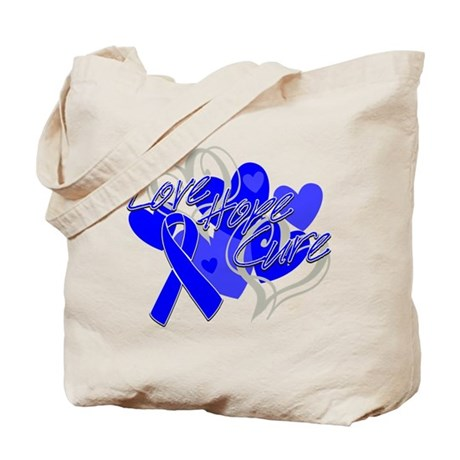 Rectal Cancer Love Hope Cure Tote Bag