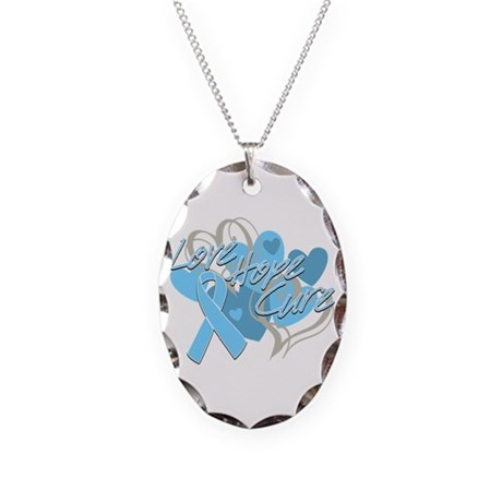 Prostate Cancer Love Hope Cure Necklace Oval Charm