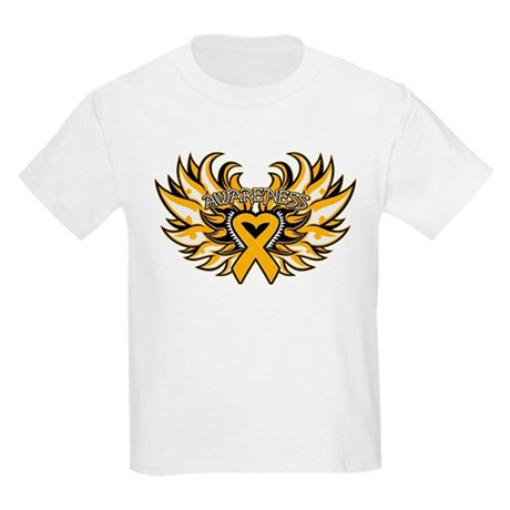 Appendix Cancer Heart Wings Kids Light T-Shirt