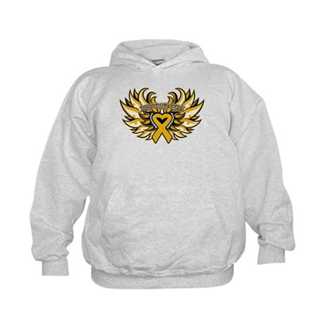 Appendix Cancer Heart Wings Kids Hoodie