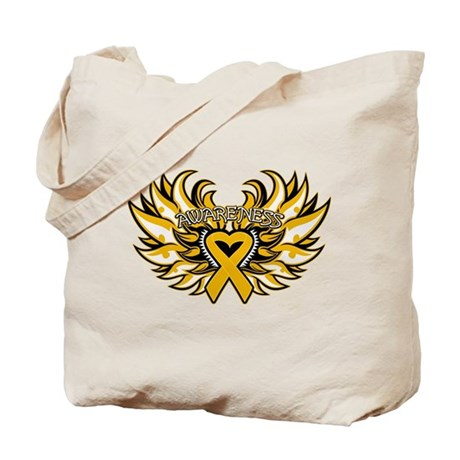 Appendix Cancer Heart Wings Tote Bag