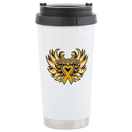 Appendix Cancer Heart Wings Ceramic Travel Mug