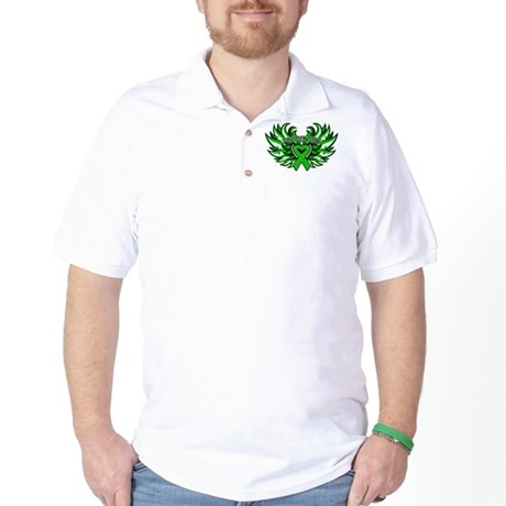 Bile Duct Cancer Heart Wings Golf Shirt