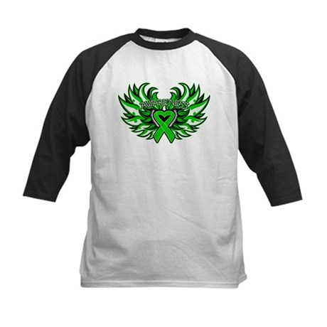 Bile Duct Cancer Heart Wings Kids Baseball Jersey