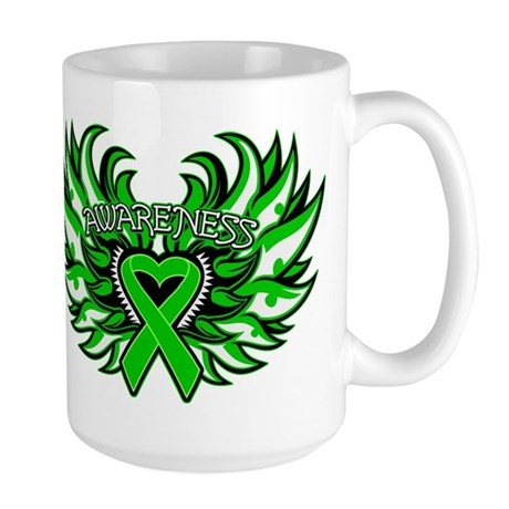 Bile Duct Cancer Heart Wings Large Mug