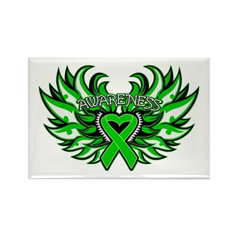 Bile Duct Cancer Heart Wings Rectangle Magnet