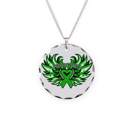Bile Duct Cancer Heart Wings Necklace Circle Charm