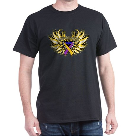 Bladder Cancer Heart Wings Dark T-Shirt