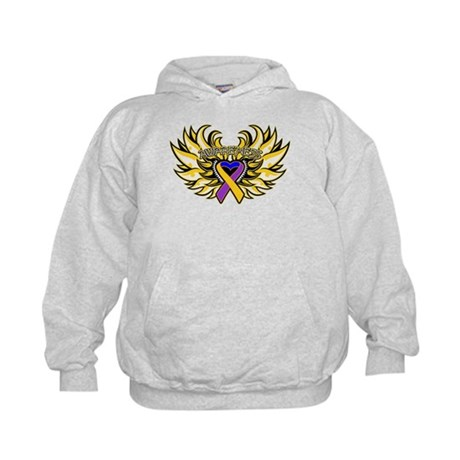 Bladder Cancer Heart Wings Kids Hoodie