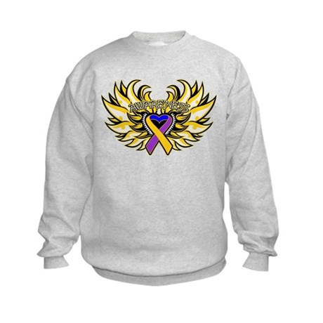 Bladder Cancer Heart Wings Kids Sweatshirt