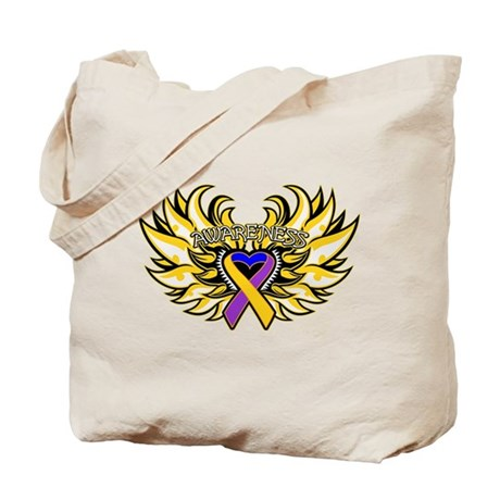 Bladder Cancer Heart Wings Tote Bag