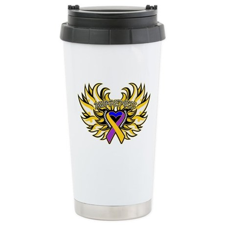 Bladder Cancer Heart Wings Ceramic Travel Mug