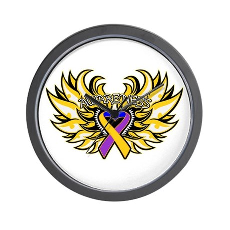 Bladder Cancer Heart Wings Wall Clock