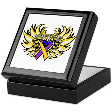 Bladder Cancer Heart Wings Keepsake Box