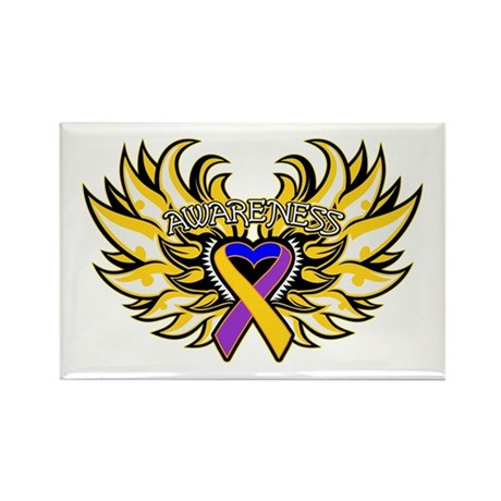 Bladder Cancer Heart Wings Rectangle Magnet