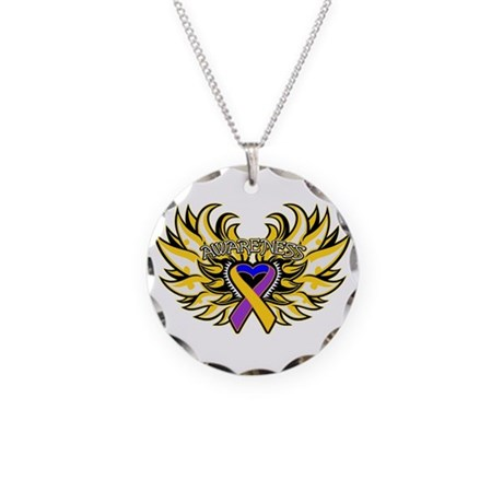 Bladder Cancer Heart Wings Necklace Circle Charm