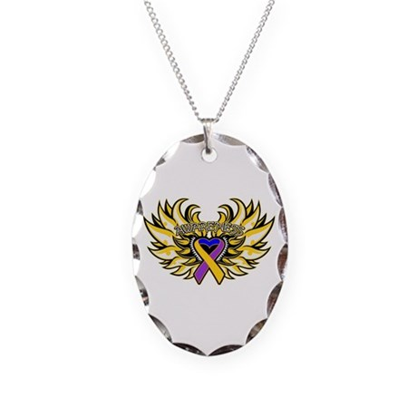 Bladder Cancer Heart Wings Necklace Oval Charm