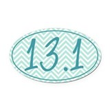 13.1 Blue Chevron Oval Car Magnet