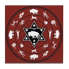 White Buffalo Medicine Wheel Tile Coaster