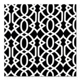 "Black & White Trellis Square Car Magnet 3"" x 3"""